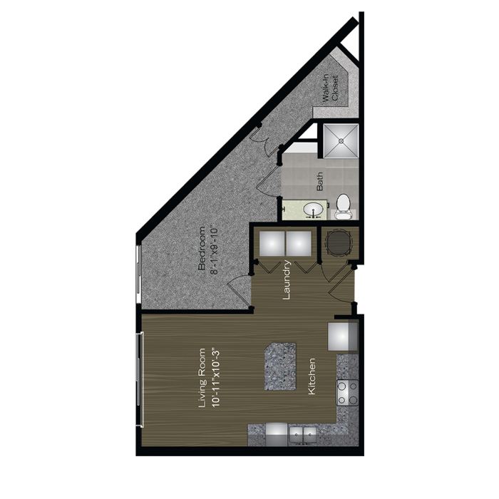 612 sq. ft. Barton floor plan