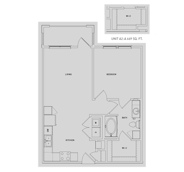 669 sq. ft. to 772 sq. ft. A2/A2-A floor plan
