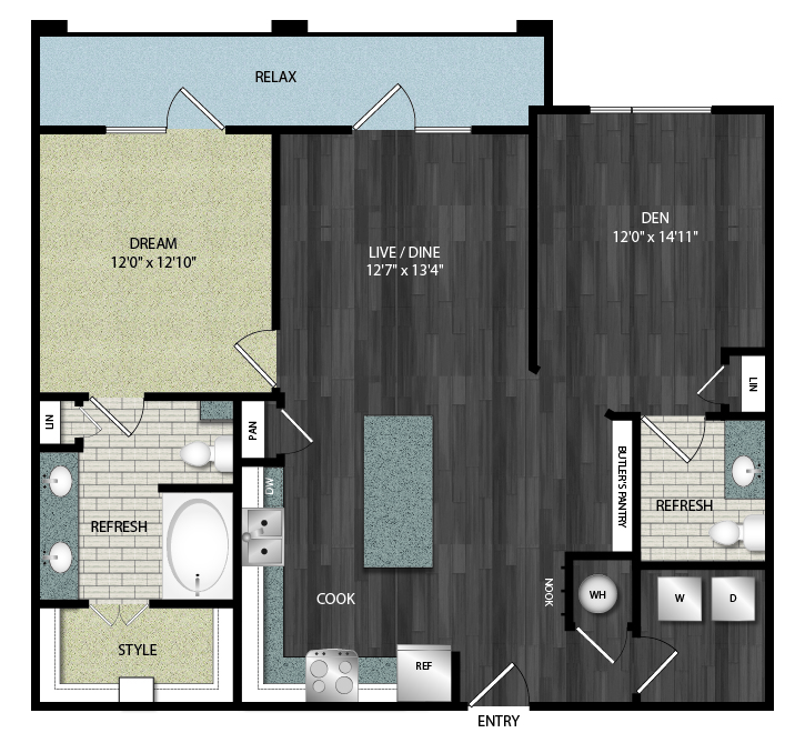 1,091 sq. ft. A8.4 floor plan