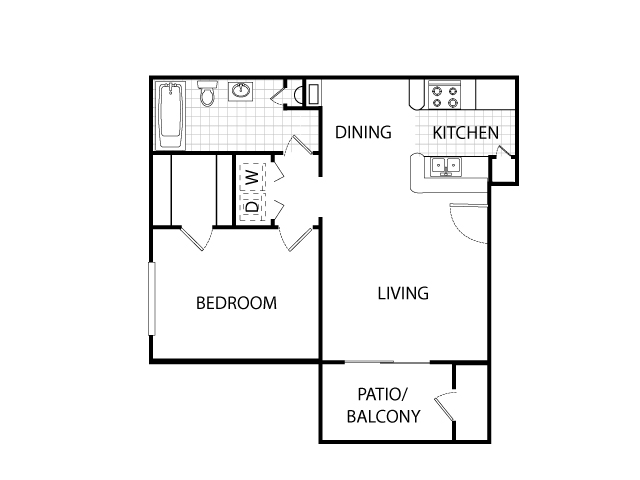 569 sq. ft. A2 floor plan
