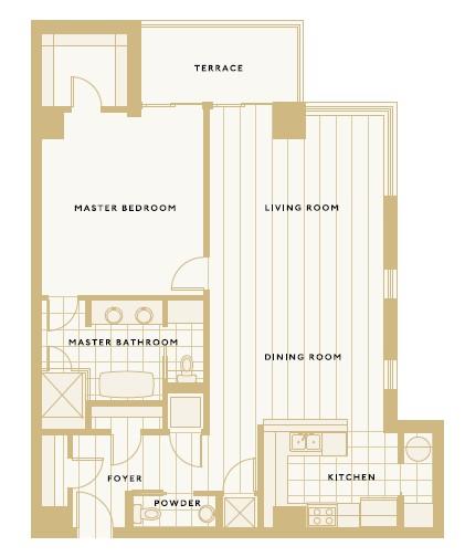 1,242 sq. ft. H floor plan