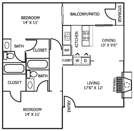 987 sq. ft. B6 floor plan