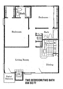 857 sq. ft. B3 floor plan