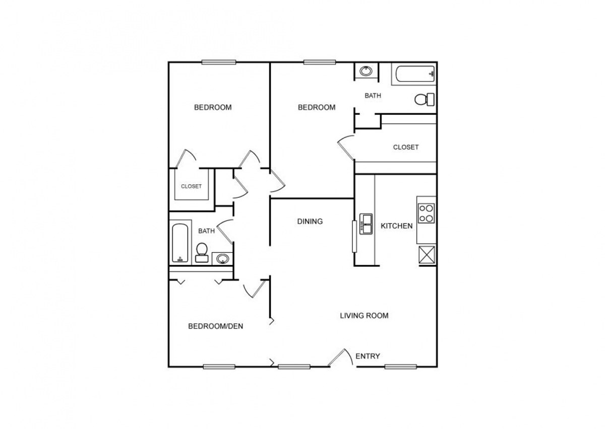 1,132 sq. ft. floor plan