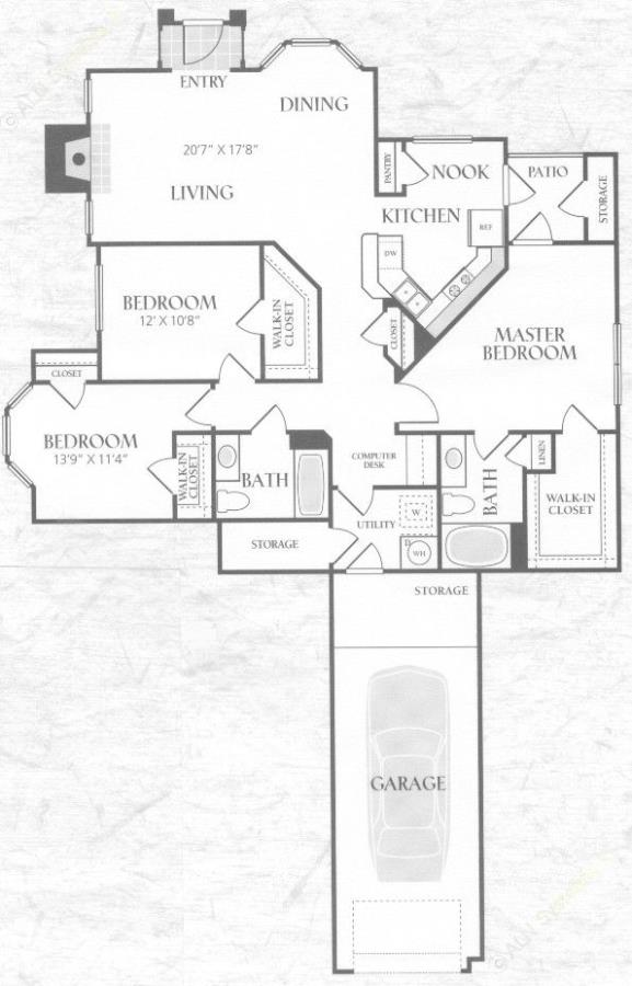 1,465 sq. ft. C1U floor plan
