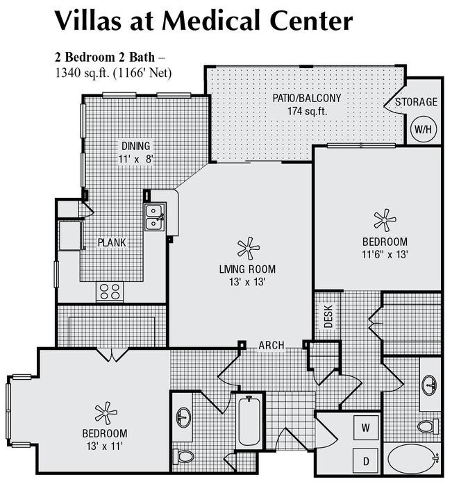 1,166 sq. ft. H floor plan