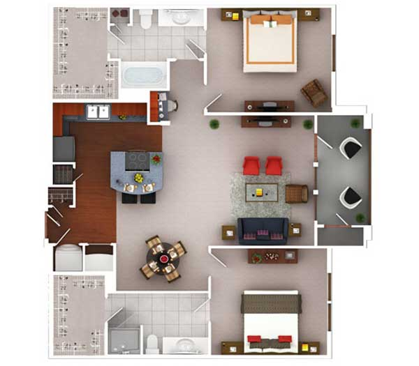 1,230 sq. ft. B3.2 floor plan