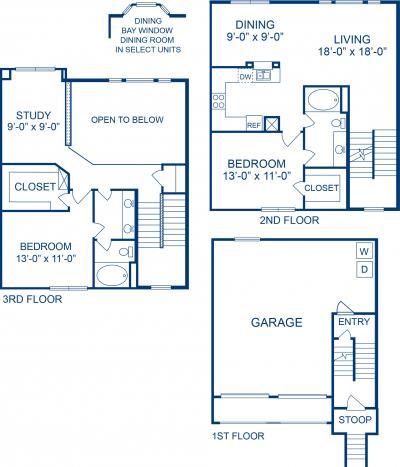 1,342 sq. ft. G1 floor plan