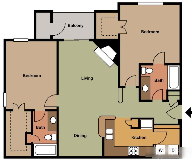 1,045 sq. ft. E TH floor plan