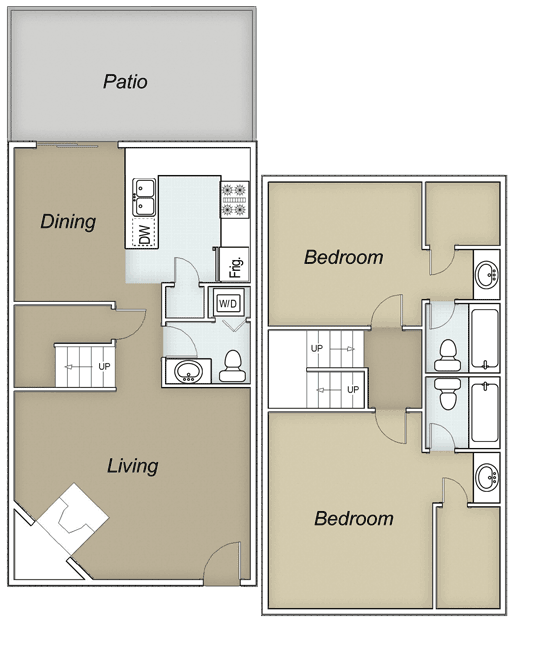 1,224 sq. ft. B floor plan
