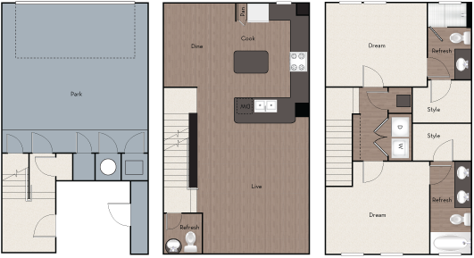 1,394 sq. ft. TH 2 floor plan