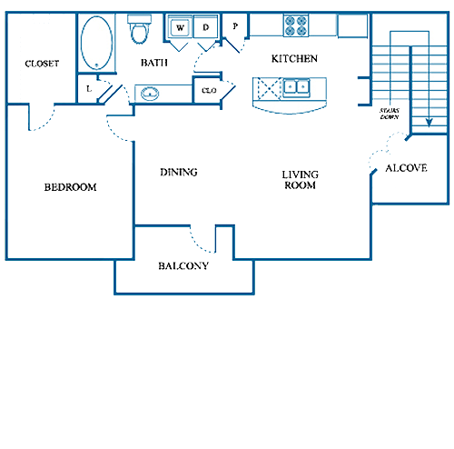 848 sq. ft. B2/UP floor plan