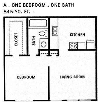 545 sq. ft. A floor plan