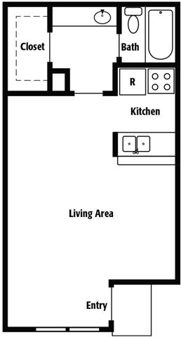 424 sq. ft. A floor plan
