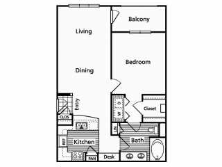 820 sq. ft. B floor plan