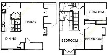 1,420 sq. ft. C3 floor plan