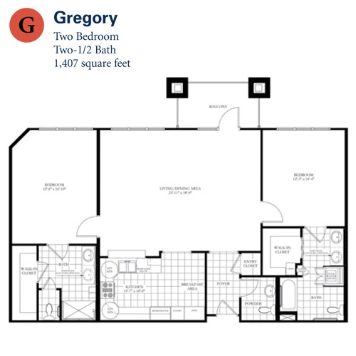 1,407 sq. ft. Gregory floor plan