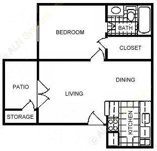 501 sq. ft. A1 floor plan