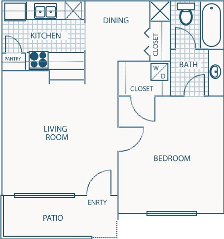566 sq. ft. A floor plan