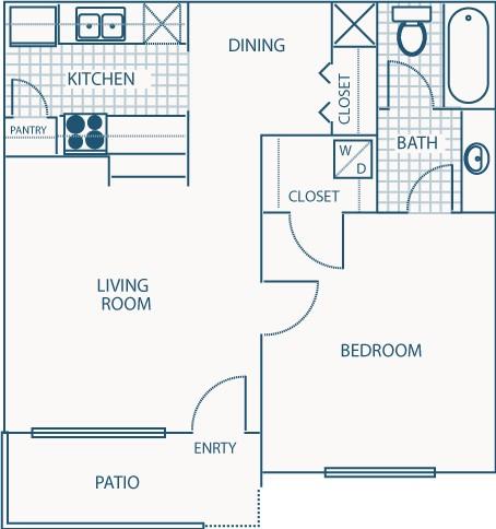 566 sq. ft. A floor plan