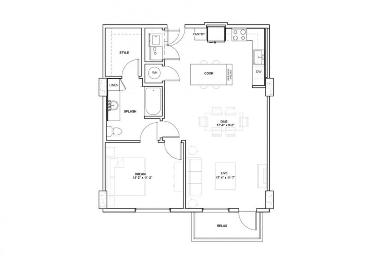 884 sq. ft. Kraddick floor plan