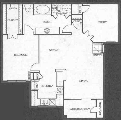 943 sq. ft. B1 floor plan