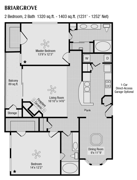1,231 sq. ft. to 1,320 sq. ft. H floor plan