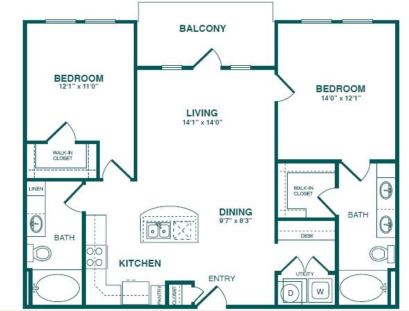 1,128 sq. ft. C1S floor plan
