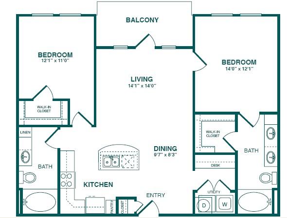 1,128 sq. ft. C1S floor plan