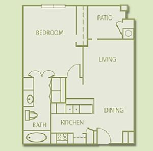 647 sq. ft. A1 floor plan