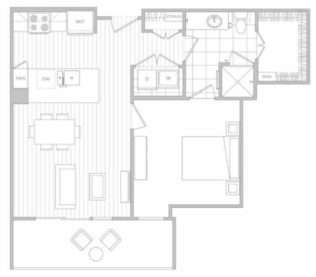 677 sq. ft. B floor plan