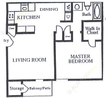 750 sq. ft. A-1 floor plan