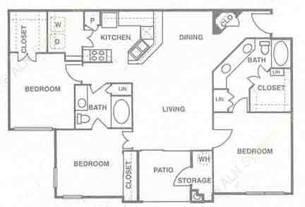 1,390 sq. ft. to 1,488 sq. ft. Aruba floor plan