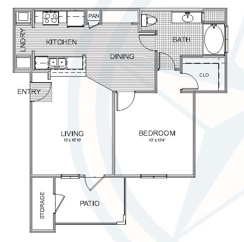 780 sq. ft. Pine floor plan