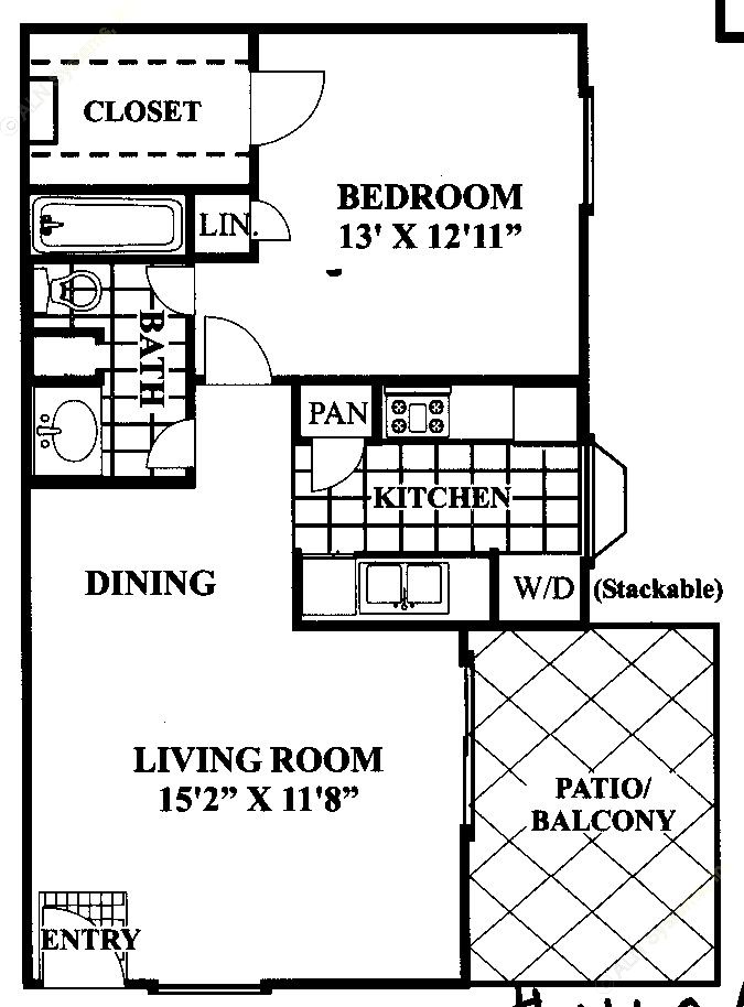643 sq. ft. C floor plan
