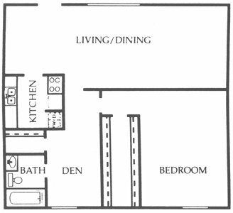 1,050 sq. ft. Willow floor plan