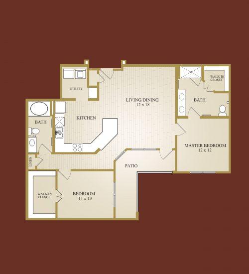 1,244 sq. ft. Medina floor plan