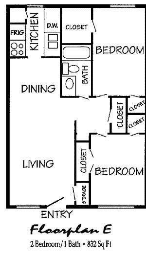 832 sq. ft. floor plan