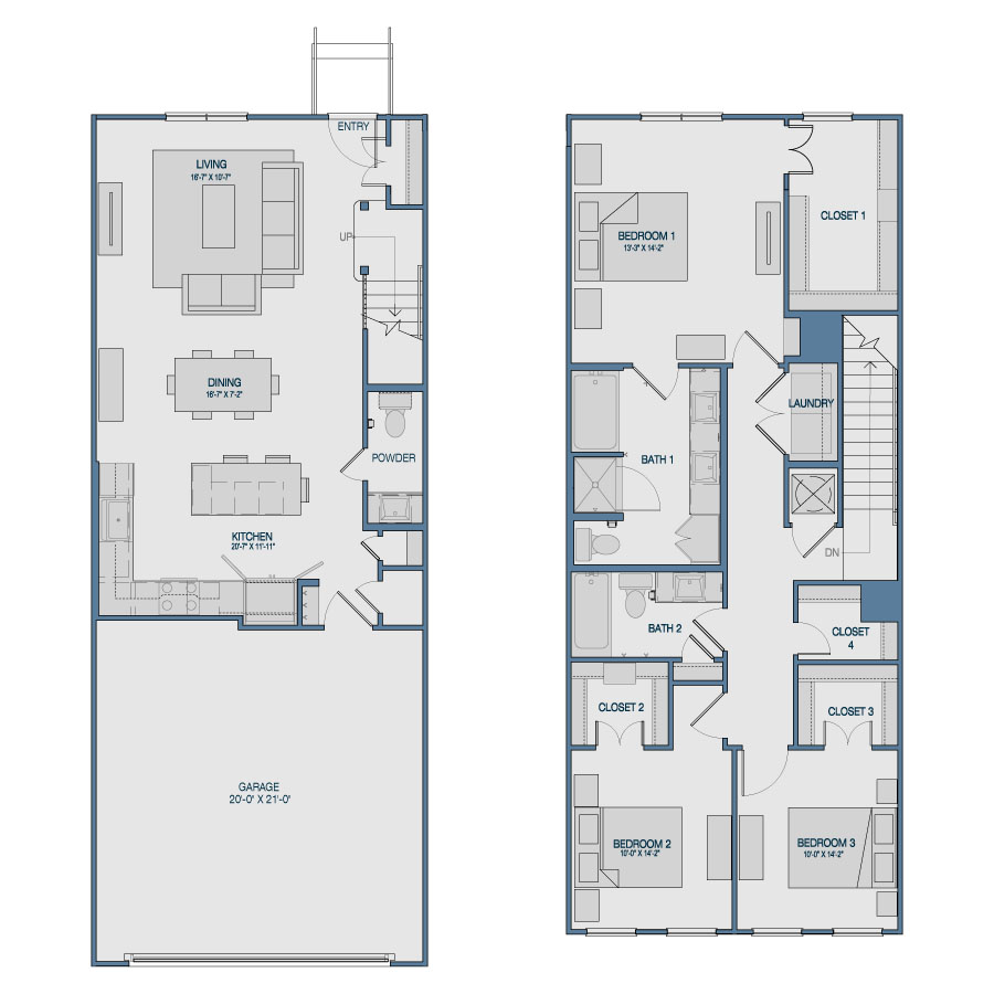 1,729 sq. ft. TH8 floor plan