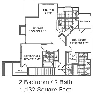 1,132 sq. ft. B2 60 floor plan