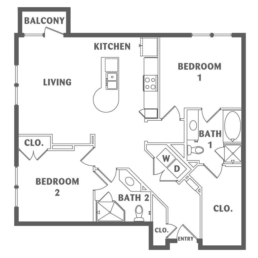 1,136 sq. ft. B6 floor plan