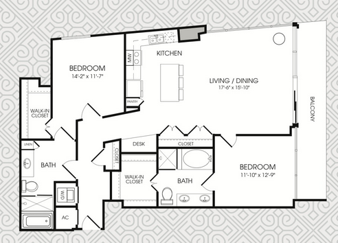1,433 sq. ft. B13 floor plan
