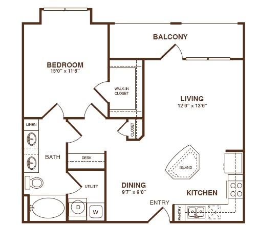 768 sq. ft. A3A floor plan