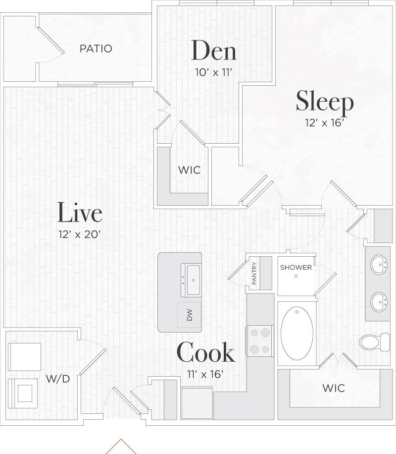 995 sq. ft. Nicola II floor plan