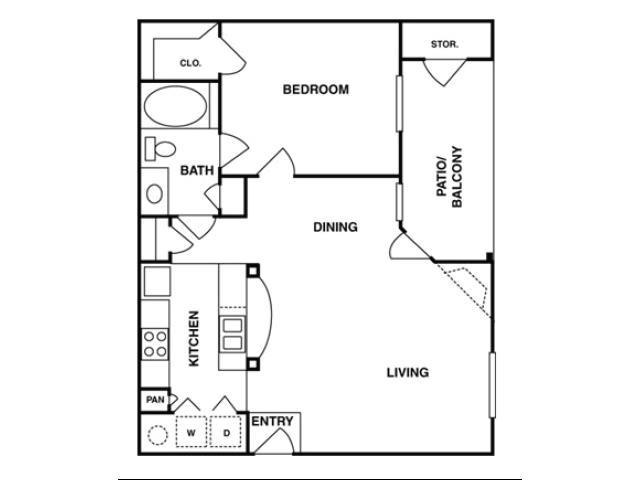 728 sq. ft. A2 floor plan