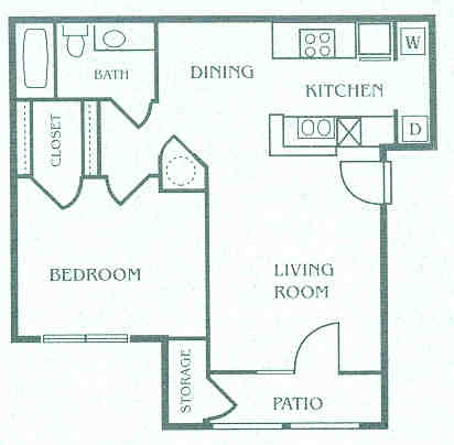 644 sq. ft. 60% floor plan