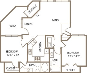 1,033 sq. ft. Wellington floor plan