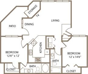 1,033 sq. ft. Wellington floor plan