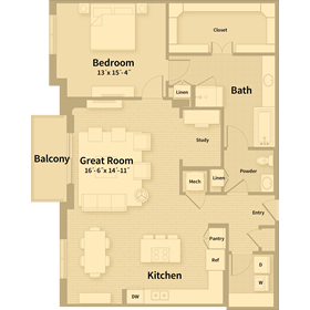 1,364 sq. ft. C2 floor plan