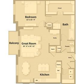 1,364 sq. ft. C2 floor plan